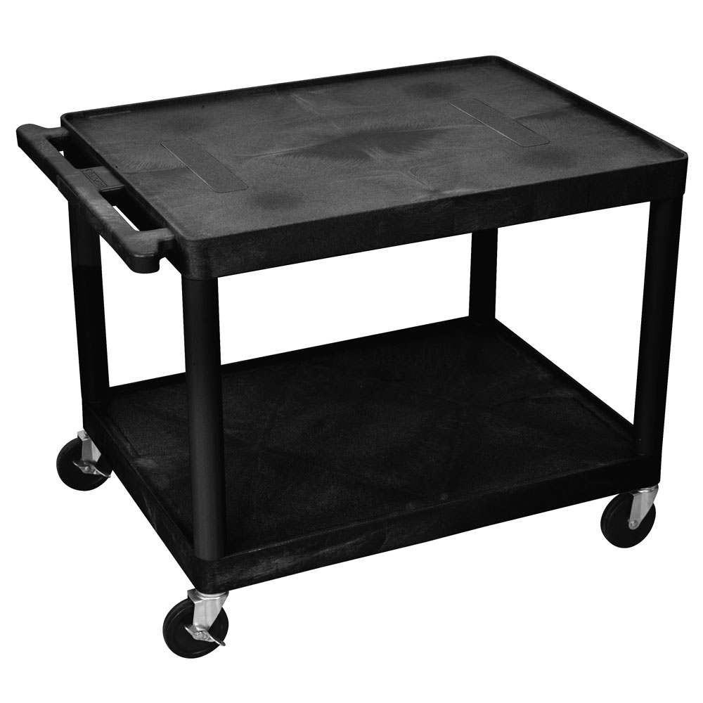 "Luxor Furniture LE27-B 27"" 2-Level A/V Utility Cart w/ 400-lb Capacity - Plastic, Black"