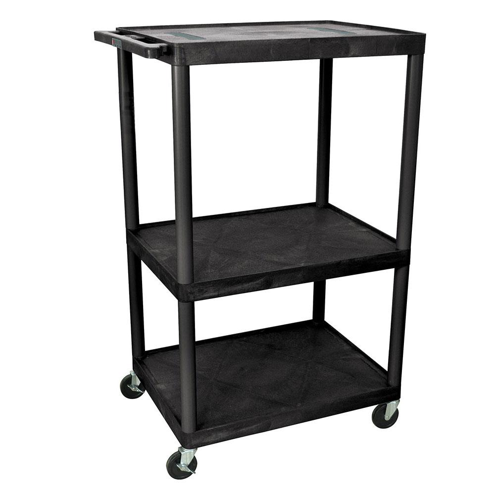 "Luxor Furniture LE54-B 54"" 3-Level A/V Utility Cart w/ 400-lb Capacity - Plastic, Black"