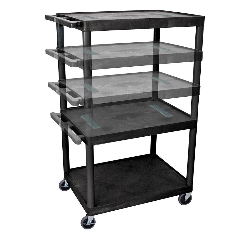 Luxor Furniture LELDUO-B 3-Level A/V Utility Cart w/ 400-lb Capacity - Adjustable Height, Plastic, Black