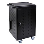 "Luxor Furniture LLTM30-B 30-Bay Tablet Charging Cart w/ (3) Shelves, 26""W x 21""D x 37""H, Steel"