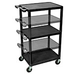 Luxor Furniture LPDUO-B 3-Level A/V Utility Cart w/ 400-lb Capacity - Adjustable Height, Plastic, Black
