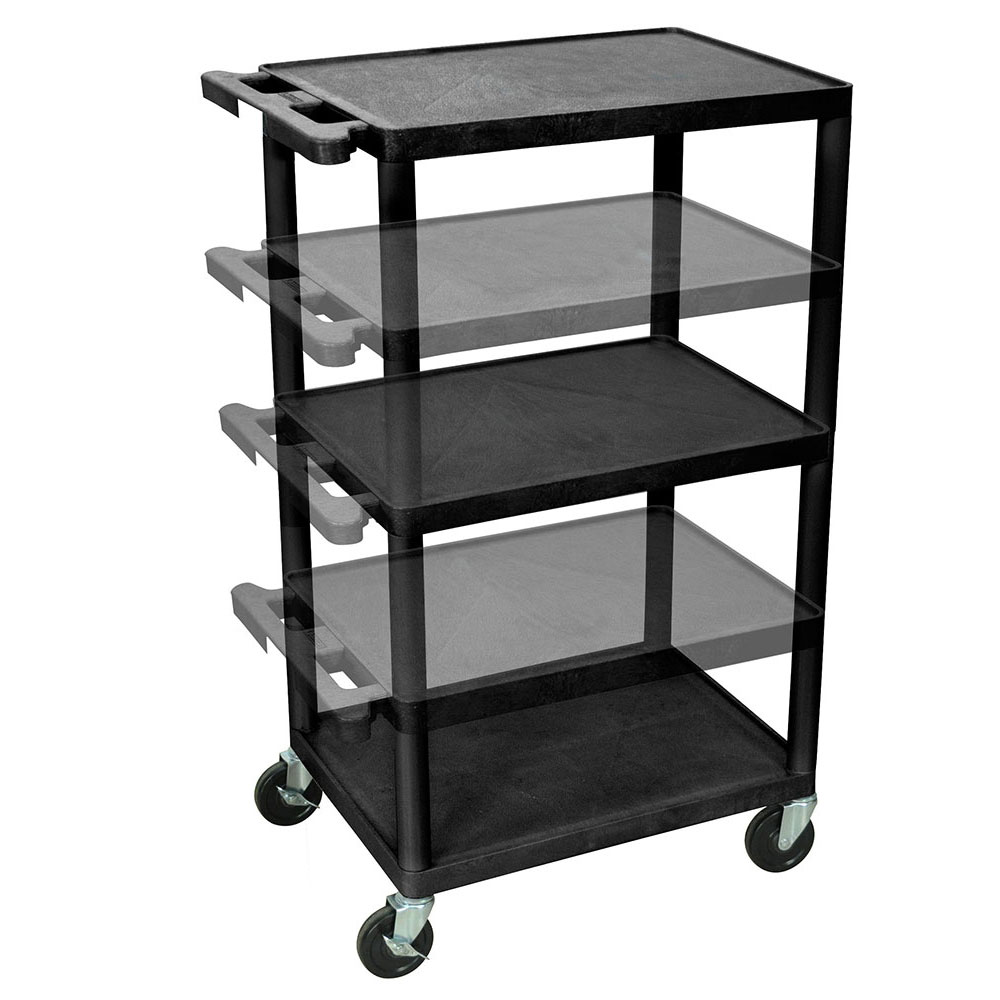 Luxor Furniture LPDUO B 3 Level A/V Utility Cart W/ 400 Lb Capacity    Adjustable Height, Plastic, Black
