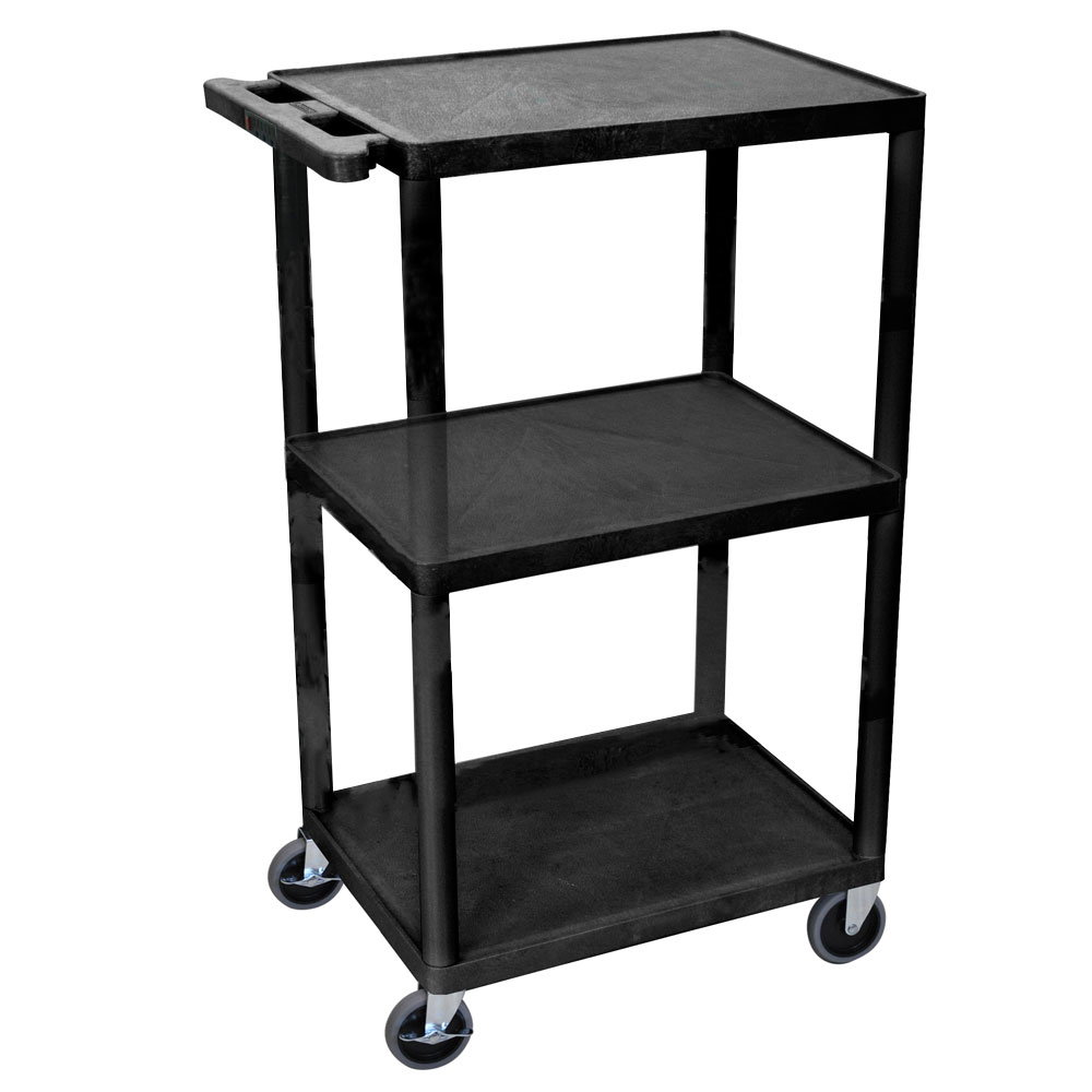 Luxor Furniture LPDUOE-B Utility Cart w/ Ergonomic Push Handle, (3) Shelves, Thermoplastic Resin
