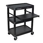 "Luxor Furniture LT34-B 34"" 3-Level A/V Utility Cart w/ 300-lb Capacity - Plastic, Black"