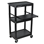 "Luxor Furniture LT45-B 45"" 3-Level A/V Utility Cart w/ 300-lb Capacity - Plastic, Black"
