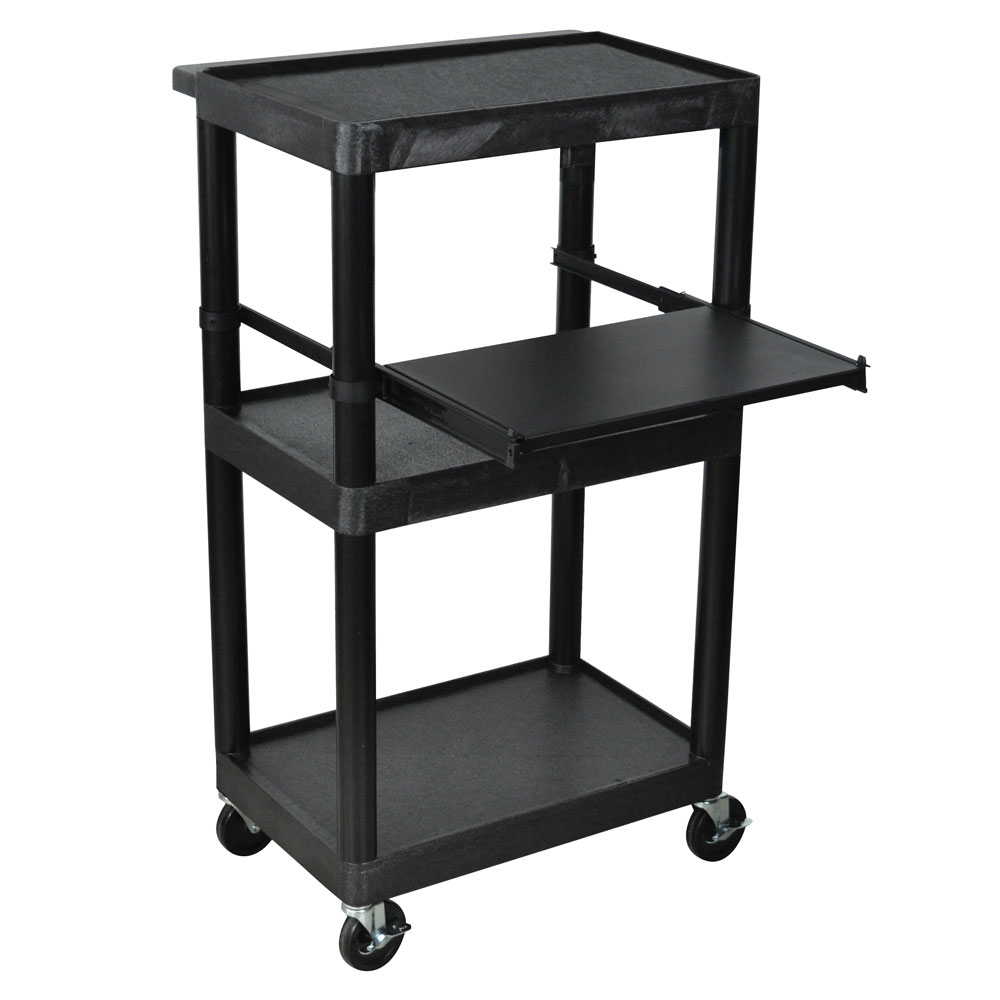 "Luxor Furniture LT45-B 45"" 3-Level A/V Utility Cart w/ 300-lb Capacity - Plastic, Black"
