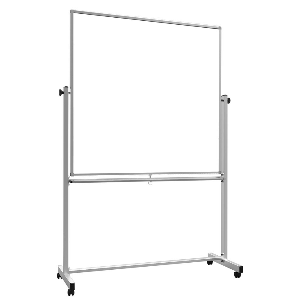 "Luxor Furniture MB4848WW 48"" Square Mobile Double-Sided Whiteboard w/ Aluminum Frame"