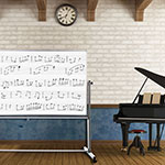 """Luxor Furniture MB7248MM 72"""" x 48"""" Mobile Double-Sided Music Whiteboard w/ Aluminum Frame"""