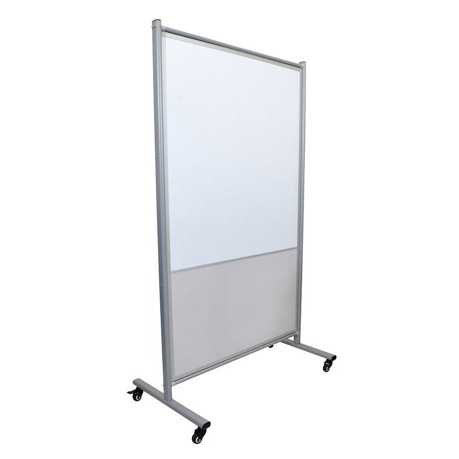 "Luxor Furniture MD4072MW Mobile Whiteboard Room Divider w/ Bulletin Board - 64"" x 38.5"", Magnetic"