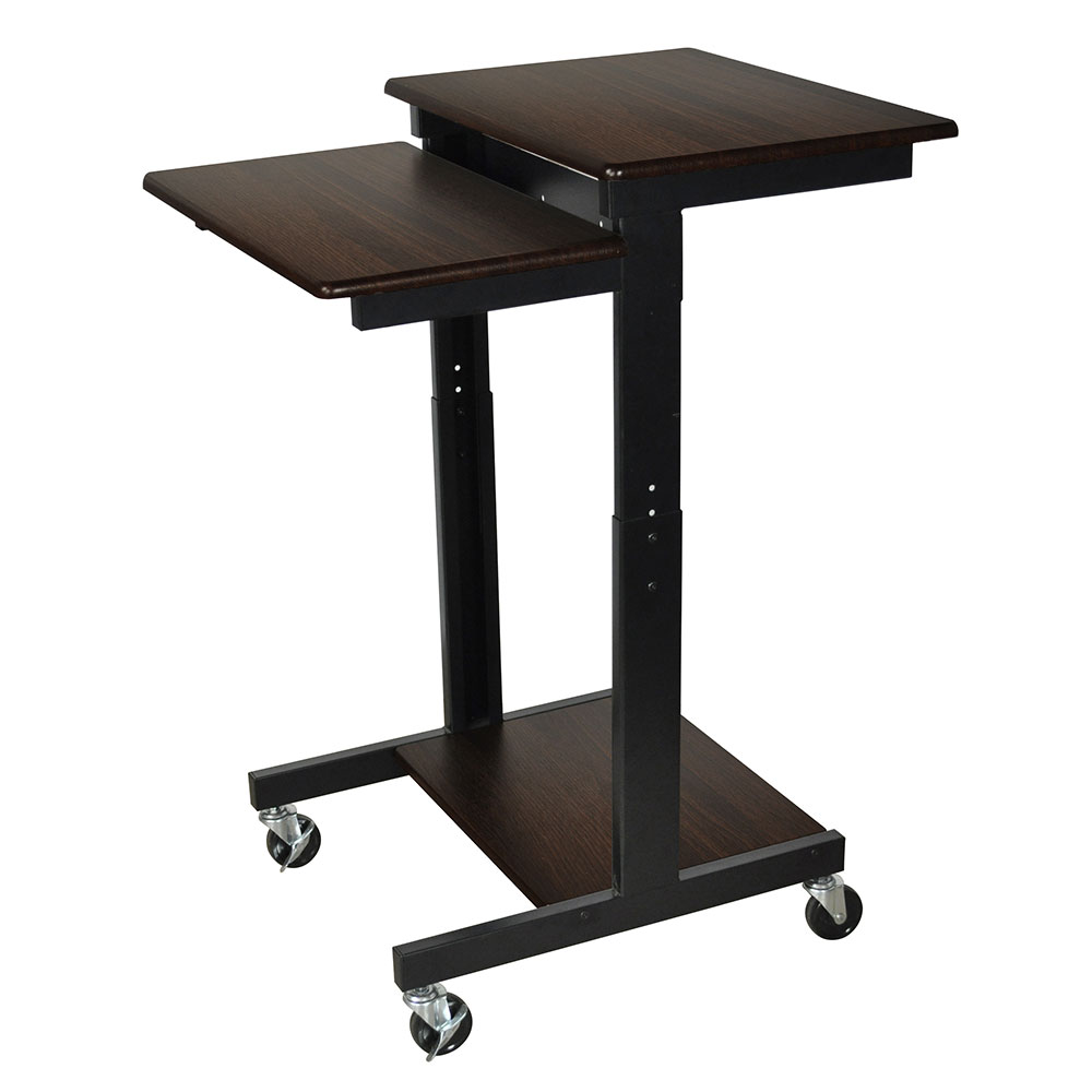 Luxor Furniture PS3945-W Adjustable Computer WorkStation w/ Locking Brakes & Walnut Laminate Work Surface