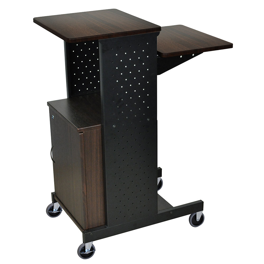 Luxor Furniture PS4000C-W Adjustable Presentation Station, Locking Cabinet 4-Walnut Laminate Work Surfaces