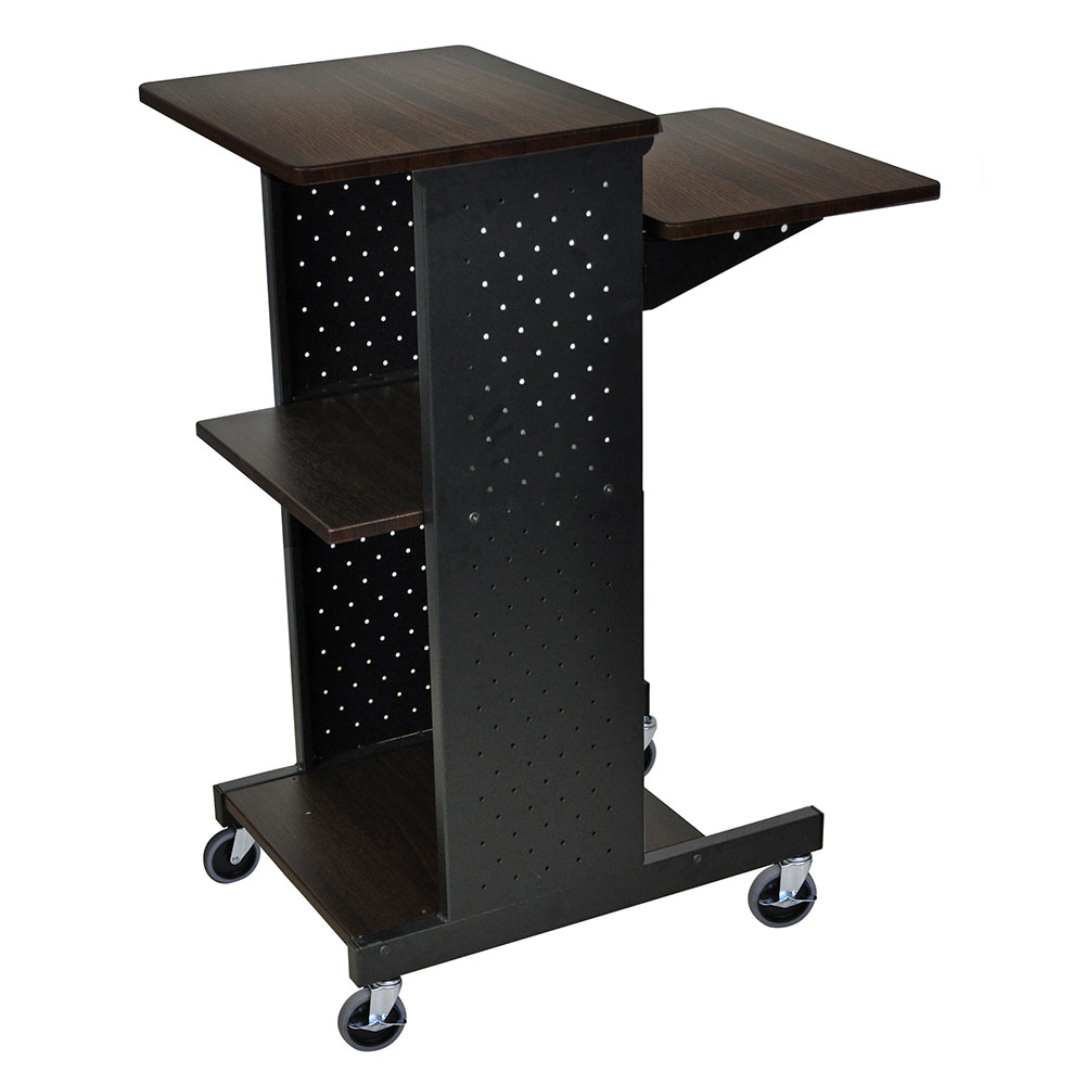 Luxor Furniture PS4000-W Adjustable Presentation Station 4-Rich Walnut Laminate Work Surfaces Steel Frame
