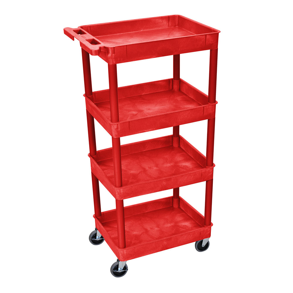 luxor RDSTC111RD 3-Level Polymer Utility Cart w/ 300-lb C...