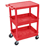 Luxor Furniture RDSTC211RD 3-Level Polymer Utility Cart w/ 300-lb Capacity, Raised Ledges