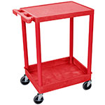 "Luxor Furniture RDSTC21RD Multipurpose Cart w/ Tub & Flat Shelf, 24x18x35.5"", Polyethylene, Red"