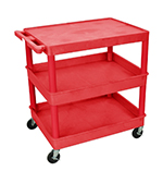 Luxor Furniture RDTC211RD Multipurpose Cart w/ 2-Tubs & Flat Shelf, 32x24x36.5-in, Polyethylene, Red