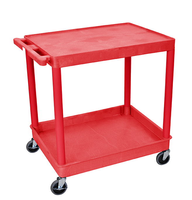 Luxor Furniture RDTC21RD Multipurpose Cart w/ Tub & Flat Shelf, 32x24x35.75-in, Polyethylene, Red