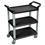 Luxor Furniture SC12-B 3-Level Polymer Utility Cart w/ 200-lb Capacity, Raised Ledges