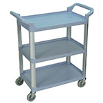 Luxor Furniture SC12-G 3-Shelf Serving Cart w/ Dual Handles 200-lb Capacity Scratch Resistant, Gray