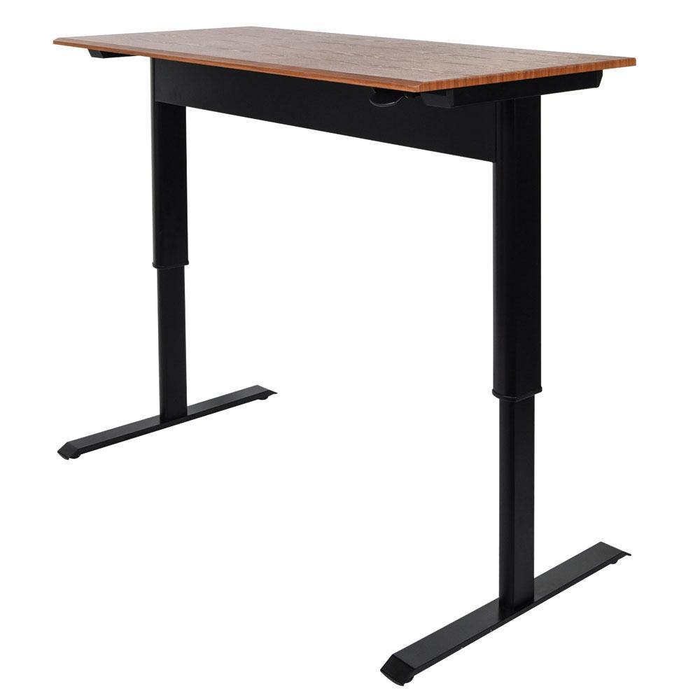 """Luxor Furniture SPN56F-BK/TK 56"""" Adjustable Standing Desk - Steel Frame, Teak Tabletop"""