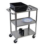 Luxor Furniture SSC-3 3-Level Stainless Steel Utility Cart w/ 300-lb Capacity, Raised Ledges