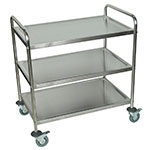 Luxor Furniture ST-3 3-Level Stainless Utility Cart w/ 200-lb Capacity, Raised Ledges