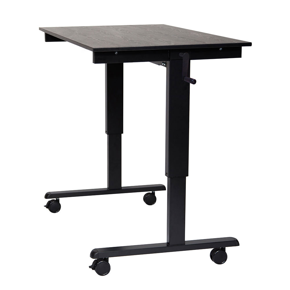 "Luxor Furniture STANDCF48-BK/BO 48"" Adjustable Standing Desk - Black Frame, Black Oak Tabletop"