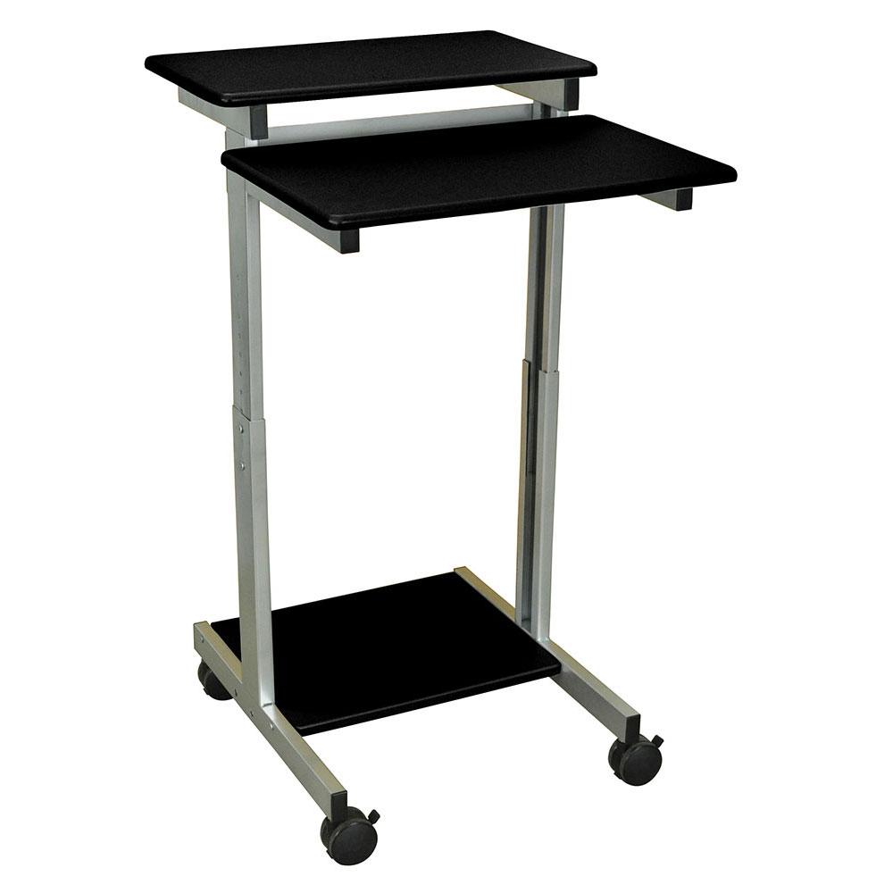 """Luxor Furniture STANDUP-24-B 24"""" Mobile Standing Presentation Station - Adjustable Height, Steel Frame, Black"""