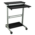 "Luxor Furniture STANDUP-31.5-B 31.5"" Mobile Standing Presentation Station - Adjustable Height, Steel Frame, Black"