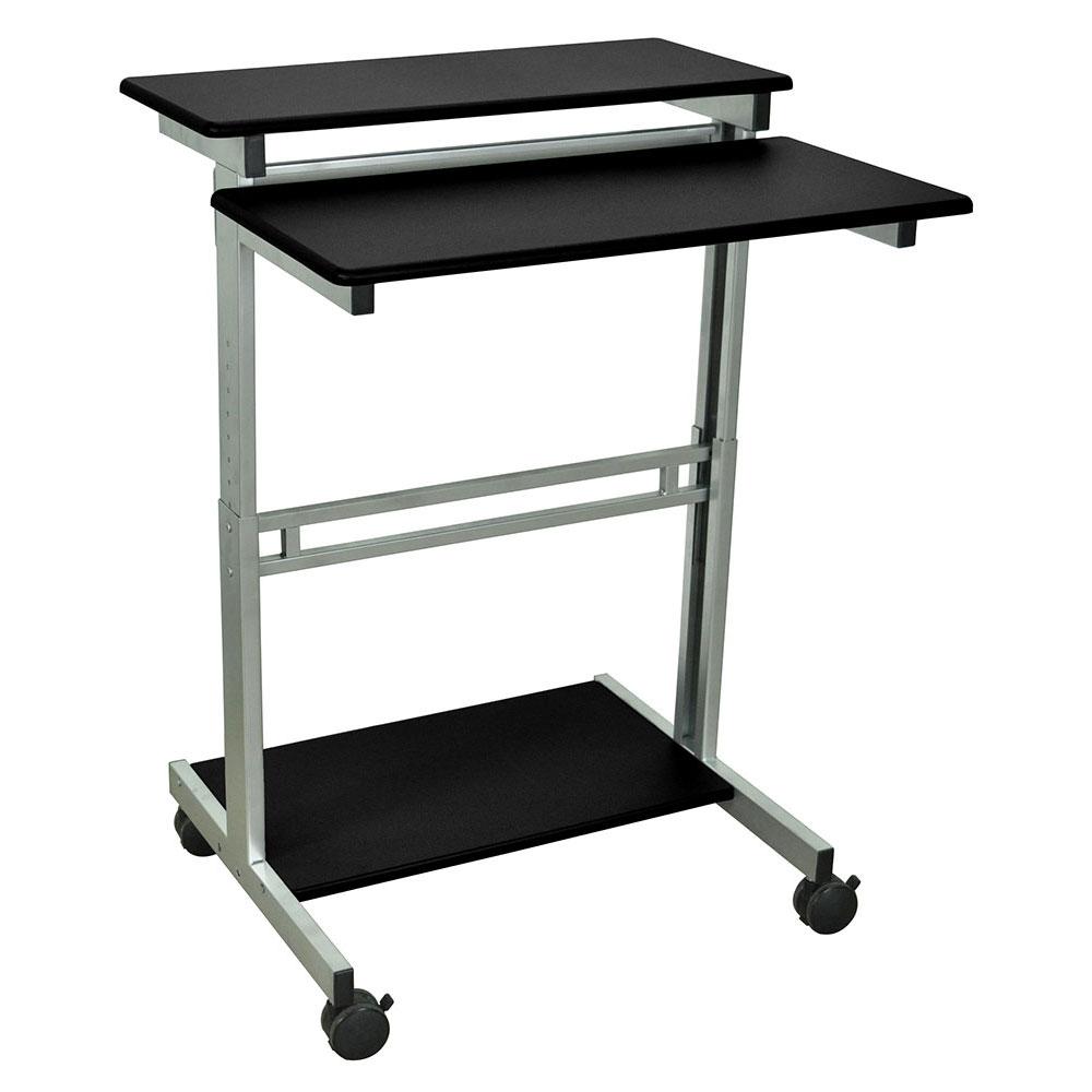 """Luxor Furniture STANDUP-31.5-B 31.5"""" Mobile Standing Presentation Station - Adjustable Height, Steel Frame, Black"""