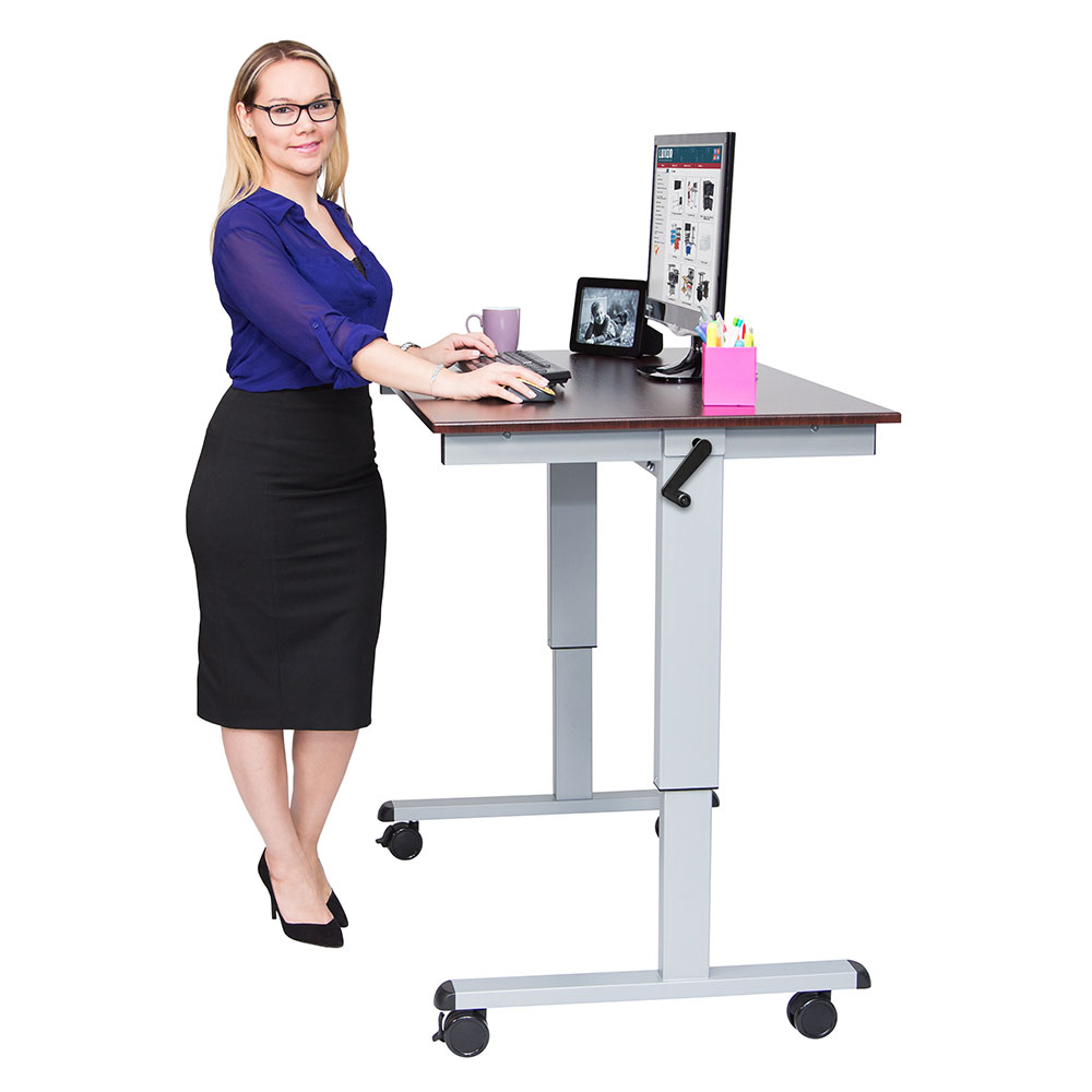 "Luxor Furniture STANDUP-CF48-DW Adjustable Stand-Up Desk w/ Laminate Work Surface, 48""W x 30""D"