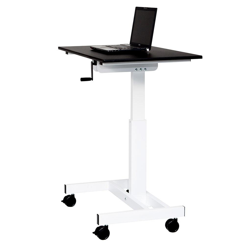 "Luxor Furniture STANDUP-SC40-WB 40"" Adjustable Standing Desk - White Frame w/ Black Surface"