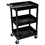 Luxor Furniture STC111-B 3-Tub Multi Purpose Cart w/ Integrated Molded Handle, Black