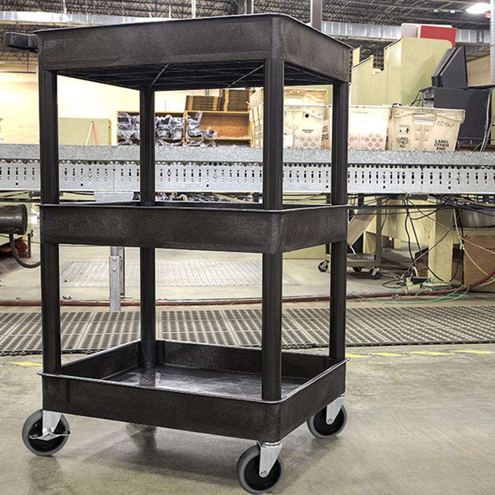 Luxor Furniture STC111-B 3-Level Polymer Utility Cart w/ 300-lb Capacity, Raised Ledges