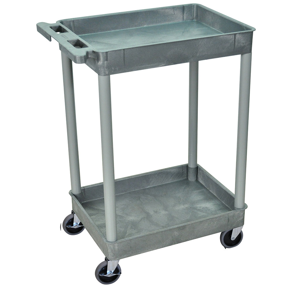 Luxor Furniture STC11-G 2-Level Polymer Utility Cart w/ 300-lb Capacity, Raised Ledges