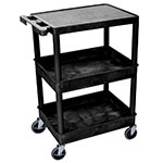 "Luxor Furniture STC211-B Multipurpose Cart w/ 2-Tubs & Flat Shelf, 24x18x36.5"", Polyethylene, Black"