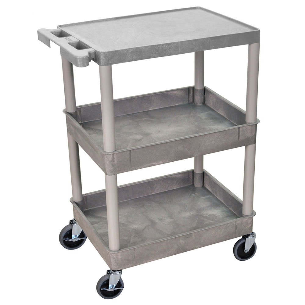 Luxor Furniture STC211-G Multipurpose Cart w/ 2-Tubs & Flat Shelf, 24x18x36.5-in, Polyethylene, Gray