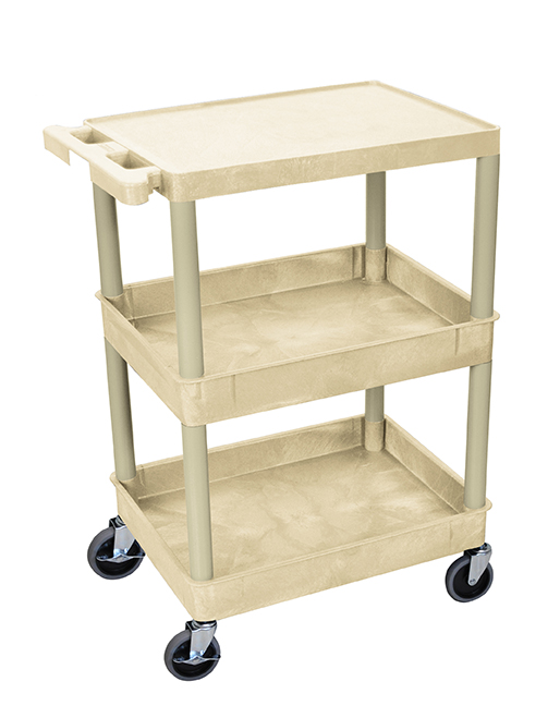 Luxor Furniture STC211-P Multipurpose Cart w/ 2-Tubs & Flat Shelf, 24x18x36.5-in, Polyethylene, Putty