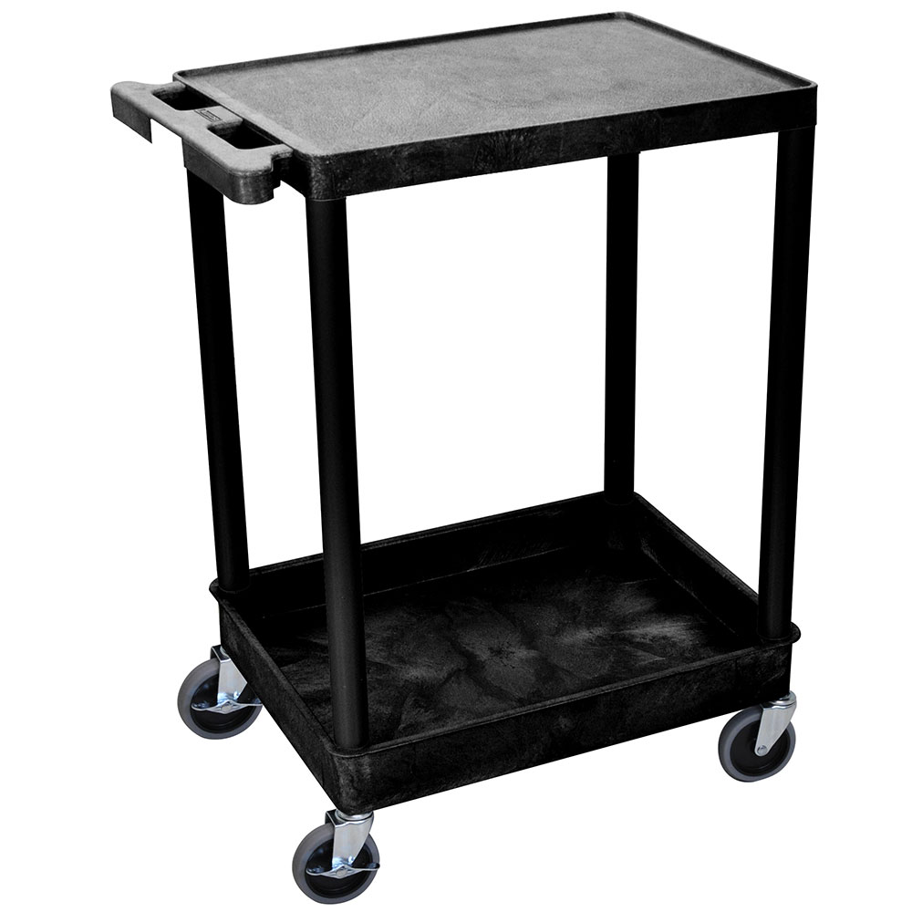 Luxor Furniture STC21-B Multipurpose Cart w/ Tub & Flat Shelf, 24x18x35.5-in, Polyethylene, Black