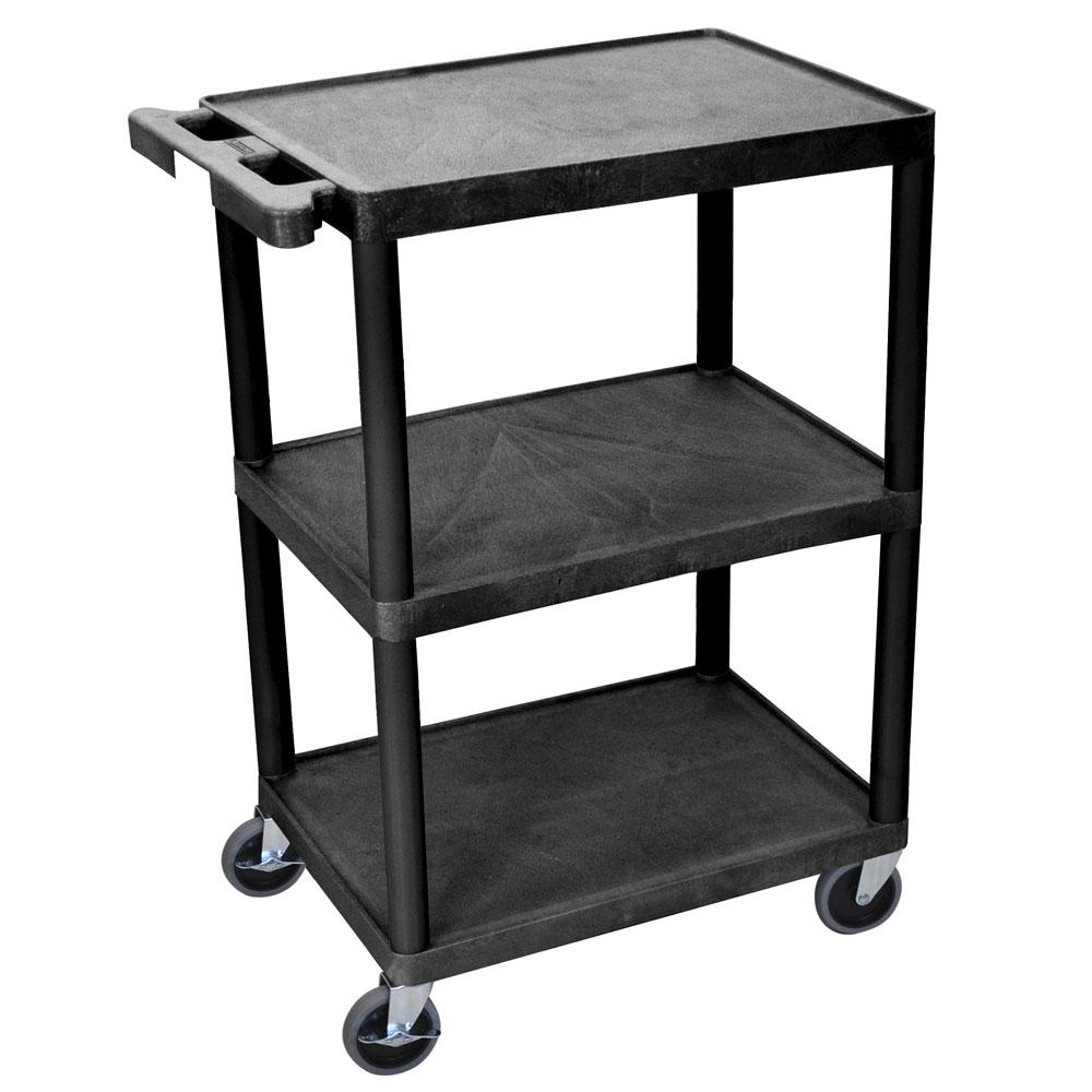Luxor Furniture STC222-B 3-Level Polymer Utility Cart w/ 300-lb Capacity - Raised Ledges, Black