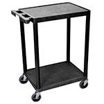Luxor Furniture STC22-B 2-Level Polymer Utility Cart w/ 300-lb Capacity - Raised Ledges, Black