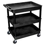 Luxor Furniture TC111-B 3-Level Polymer Utility Cart w/ 400-lb Capacity, Raised Ledges