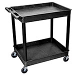 Luxor Furniture TC11-B 2-Level Polymer Utility Cart w/ 400-lb Capacity, Raised Ledges