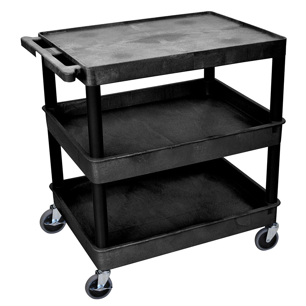 Luxor Furniture TC211-B Multipurpose Cart w/ 2-Tubs & Flat Shelf, 32x24x36.5-in, Polyethylene, Black