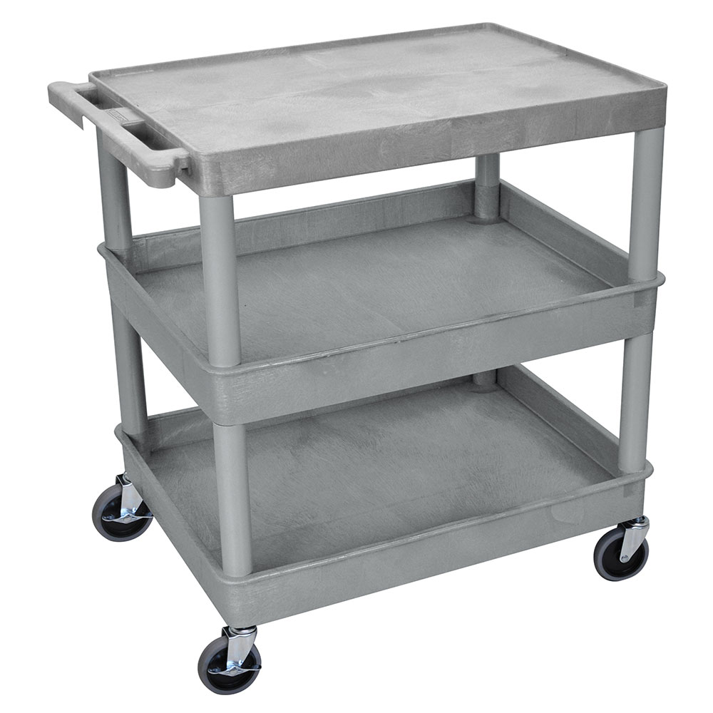 Luxor Furniture TC211-G 3-Level Polymer Utility Cart w/ 400-lb Capacity, Raised Ledges