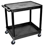 Luxor Furniture TC21-B 2-Level Polymer Utility Cart w/ 400-lb Capacity, Raised Ledges