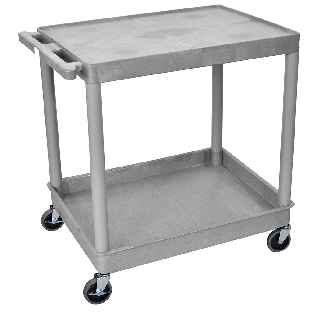 Luxor Furniture TC21-G 2-Level Polymer Utility Cart w/ 400-lb Capacity, Raised Ledges