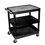 Luxor Furniture TC221-B 3-Level Polymer Utility Cart w/ 400-lb Capacity - Raised Ledges, Black