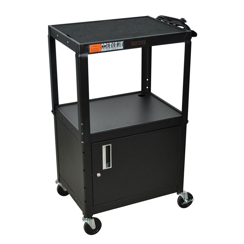 Luxor Furniture W42ACE 3-Level Media Cart w/ 15-ft Cord