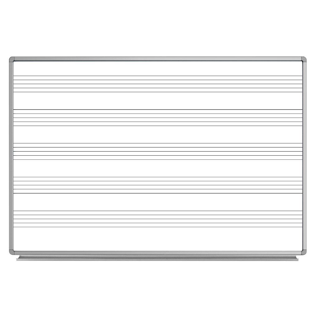 luxor WB7248M 72 x 48 Wall-Mounted Music Whiteboard w/ Al...